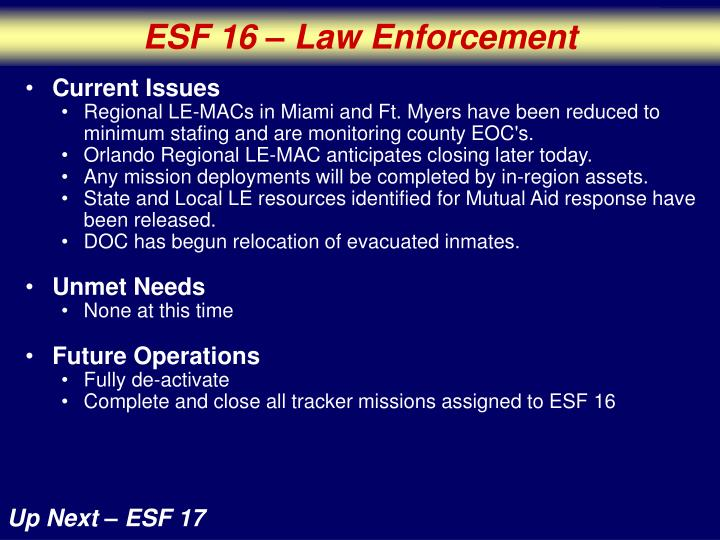 ESF 16 – Law Enforcement