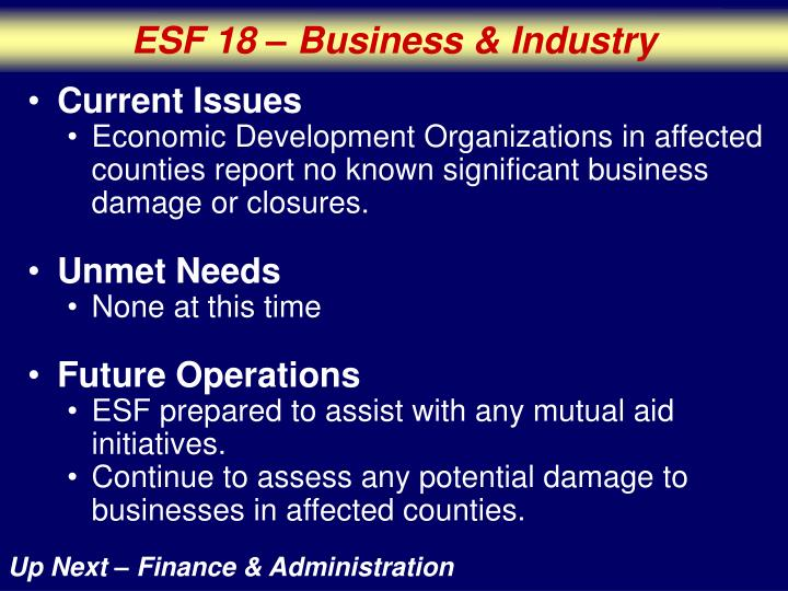 ESF 18 – Business & Industry