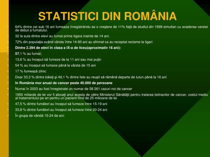 STATISTICI DIN ROMÂNIA