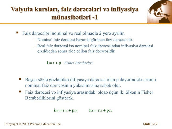 Valyuta kursları, faiz dərəcələri və inflyasiya münasibətləri -1