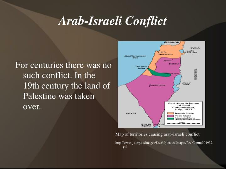 Map of territories causing arab-israeli conflict