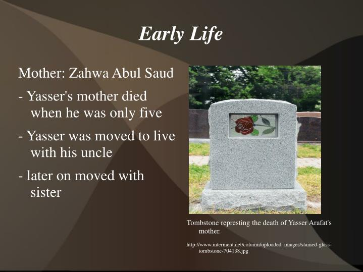 Tombstone represting the death of Yasser Arafat's mother.