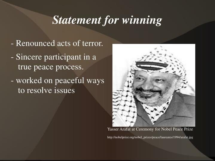 Yasser Arafat at Ceremony for Nobel Peace Prize