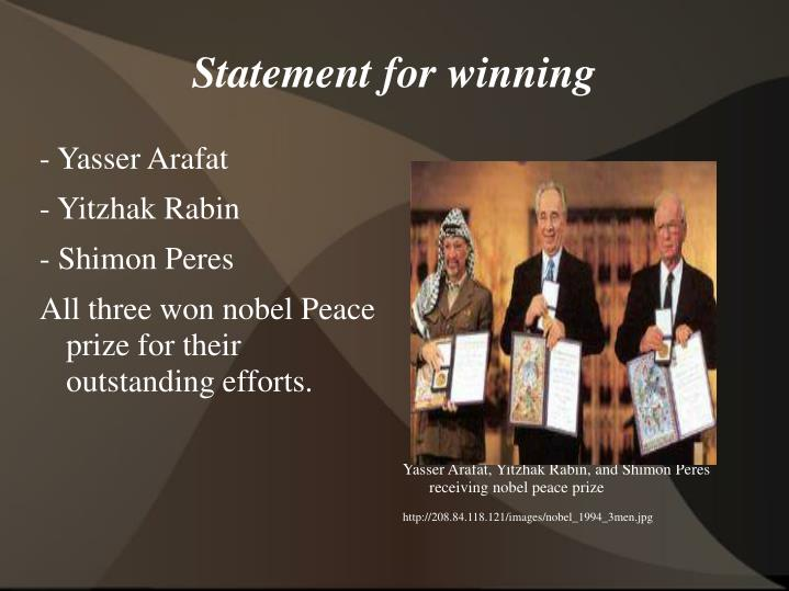 Yasser Arafat, Yitzhak Rabin, and Shimon Peres receiving nobel peace prize