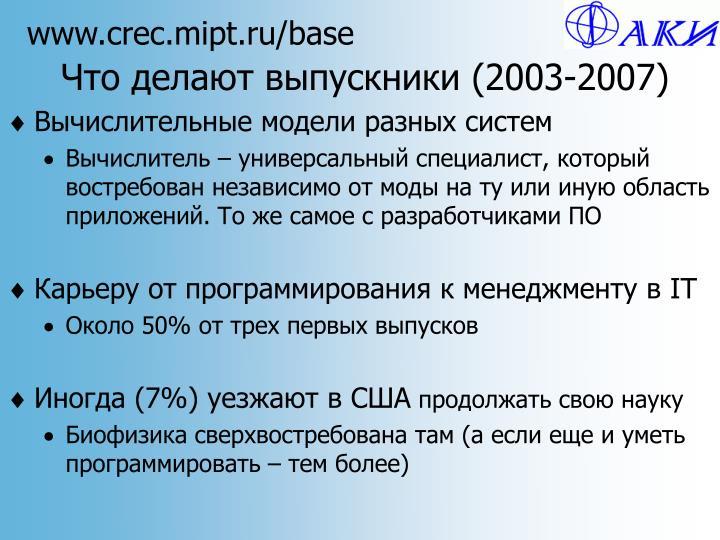 Что делают выпускники (2003-2007)