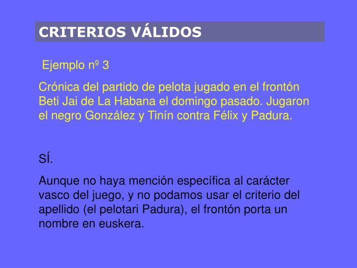 CRITERIOS VÁLIDOS