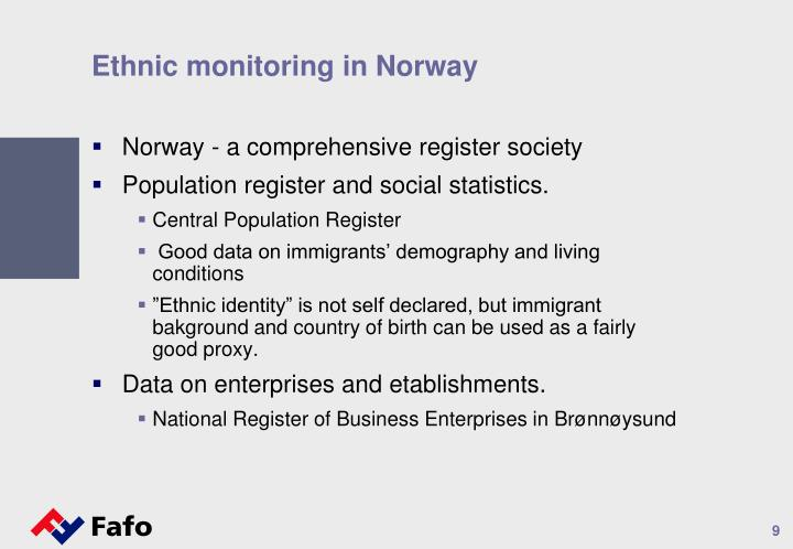 Ethnic monitoring in Norway
