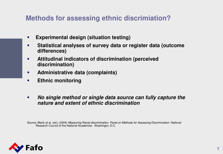 Methods for assessing ethnic discrimiation?