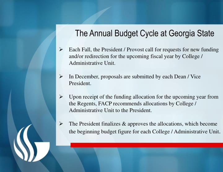 The Annual Budget Cycle at Georgia State