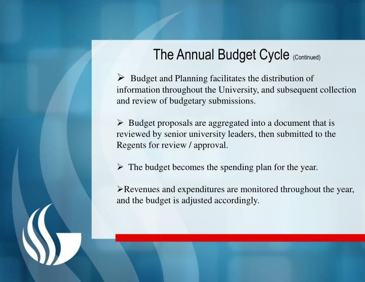 The Annual Budget Cycle