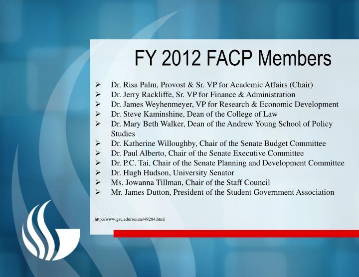 FY 2012 FACP Members