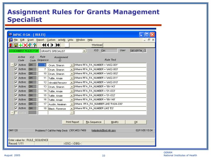 Assignment Rules for Grants Management Specialist