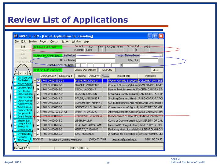 Review List of Applications
