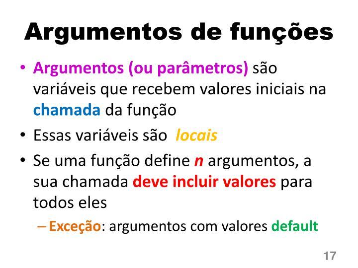 Argumentos de funções