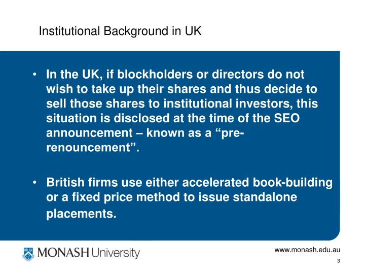 Institutional Background in UK