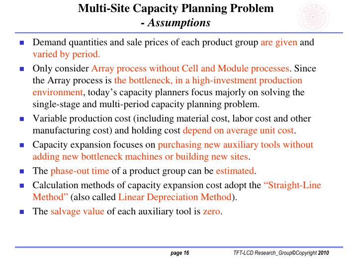 Multi-Site Capacity Planning Problem