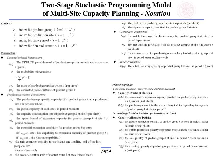 Two-Stage Stochastic Programming Model