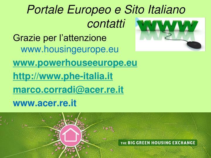 Portale Europeo e Sito Italiano contatti