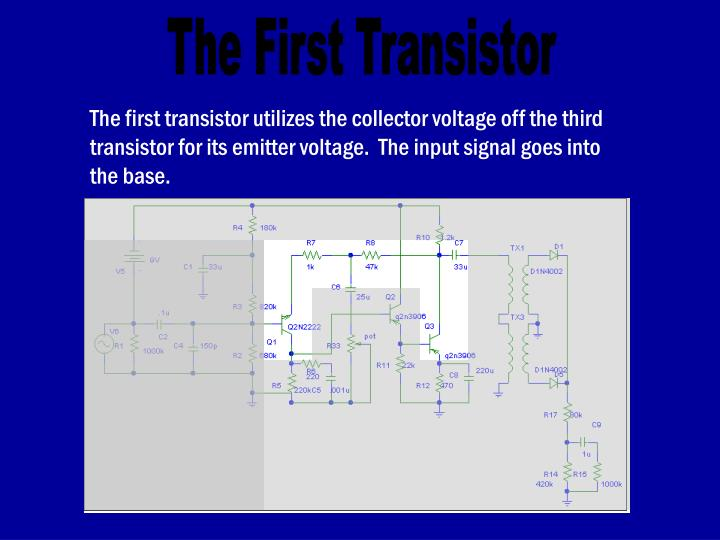 The first transistor utilizes the collector voltage off the third transistor for its emitter voltage.  The input signal goes into the base.