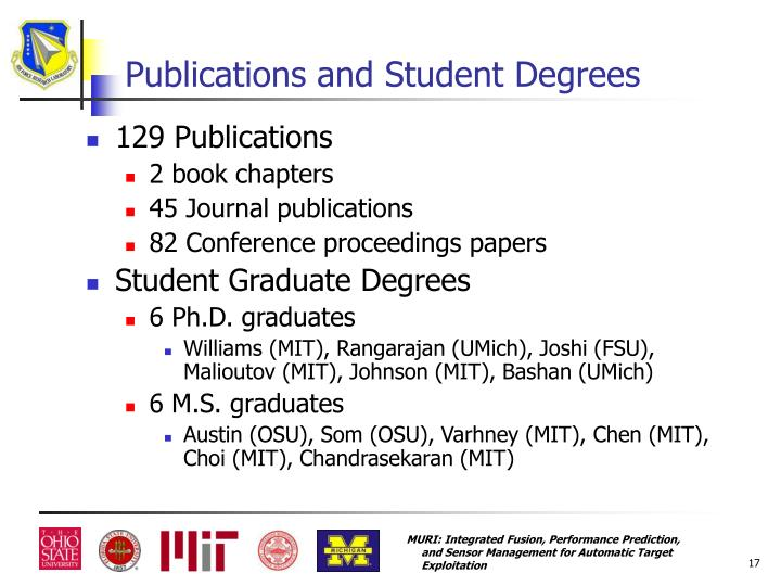 Publications and Student Degrees