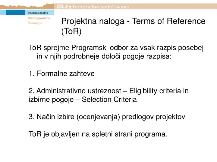 Projektna naloga - Terms of Reference (ToR)