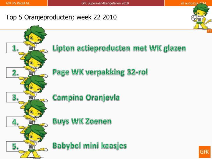 Top 5 Oranjeproducten; week 22 2010