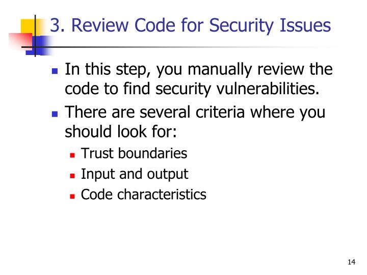 3. Review Code for Security Issues