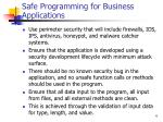 safe programming for business applications