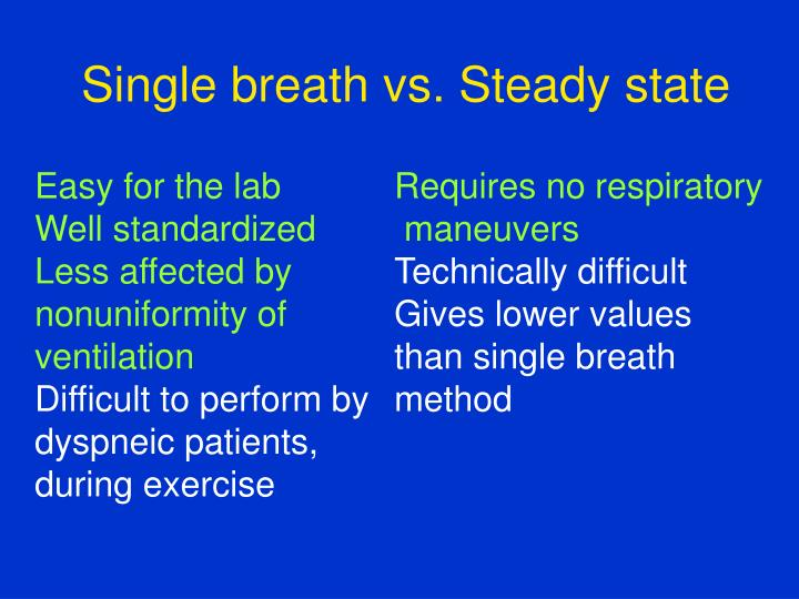 Single breath vs. Steady state