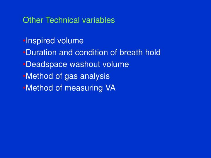 Other Technical variables