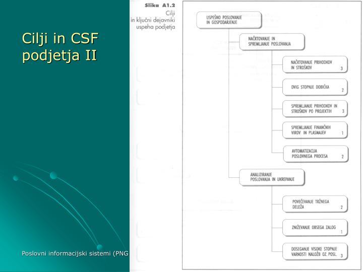 Cilji in CSF podjetja II