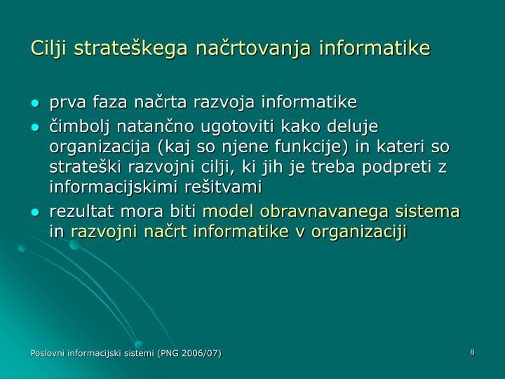 Cilji strateškega načrtovanja informatike