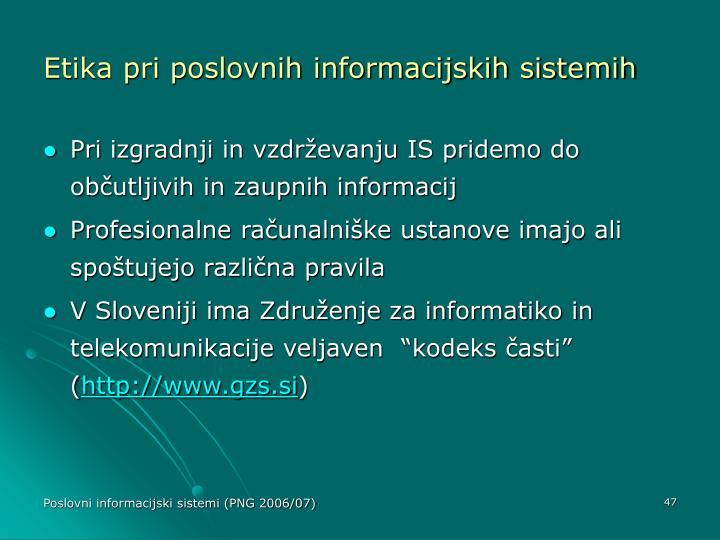 Etika pri poslovnih informacijskih sistemih