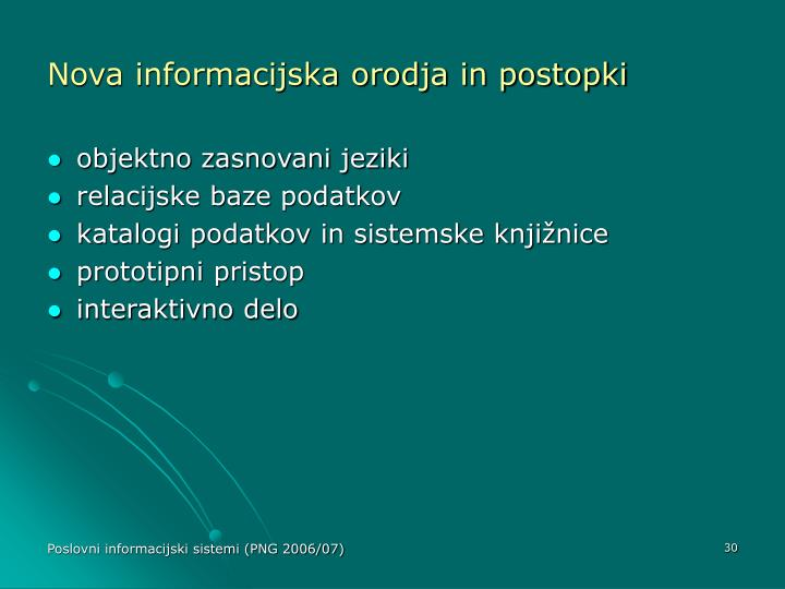 Nova informacijska orodja in postopki