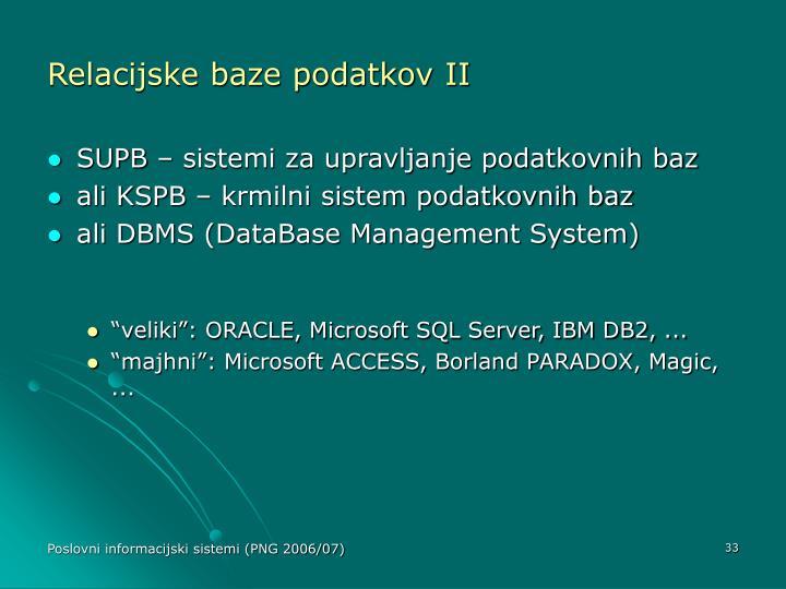 Relacijske baze podatkov II