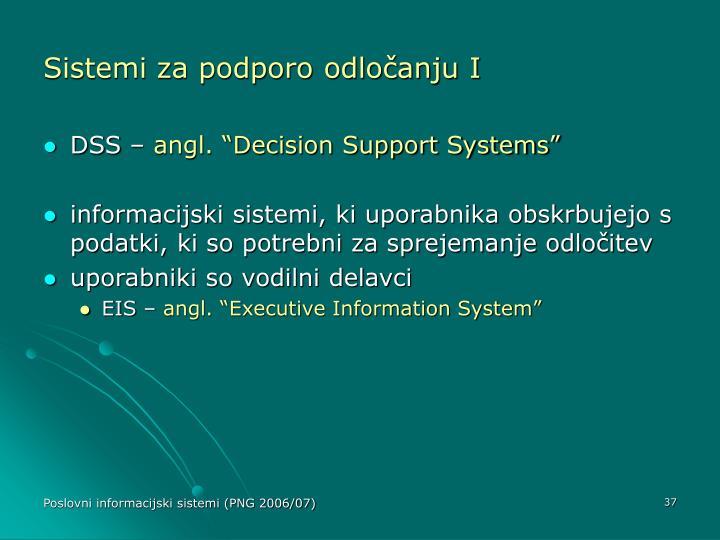 Sistemi za podporo odločanju I
