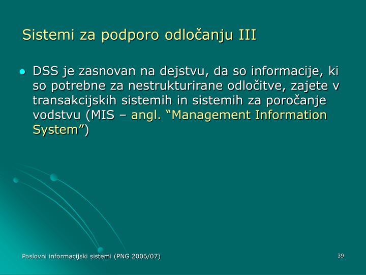 Sistemi za podporo odločanju III
