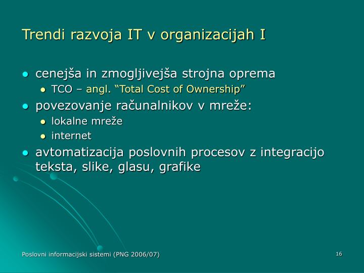Trendi razvoja IT v organizacijah I