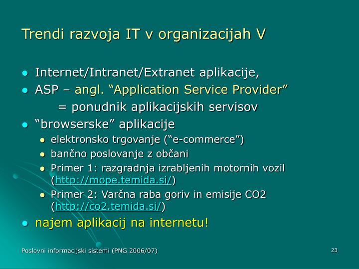 Trendi razvoja IT v organizacijah V