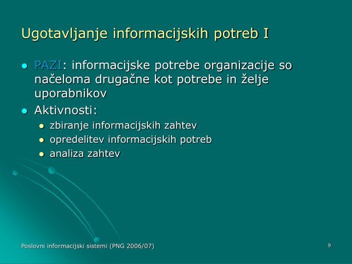 Ugotavljanje informacijskih potreb I