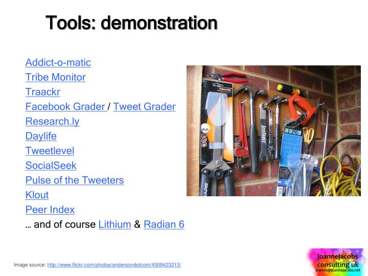 Tools: demonstration