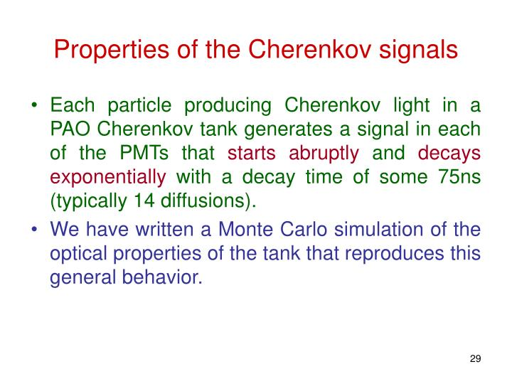 Properties of the Cherenkov signals
