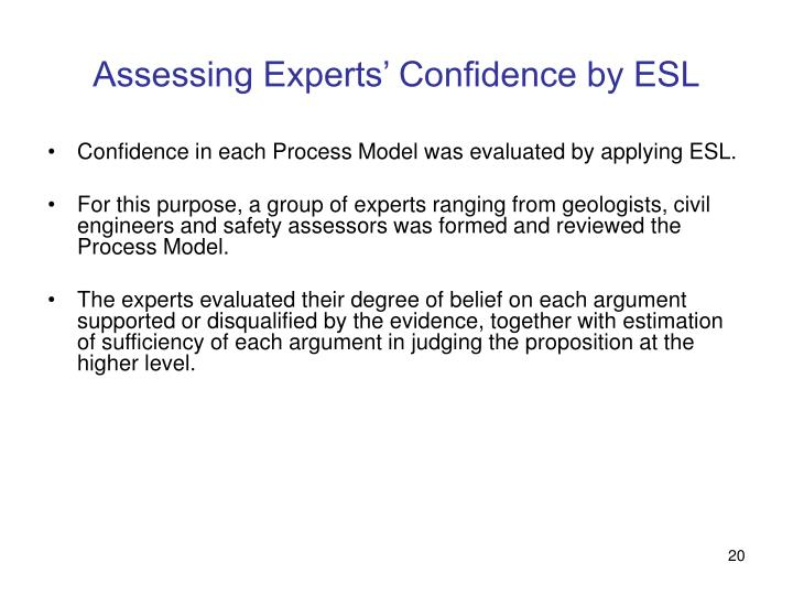 Assessing Experts' Confidence by ESL