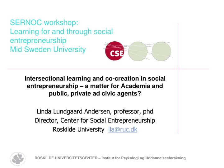 Sernoc workshop learning for and through social entrepreneurship mid sweden university