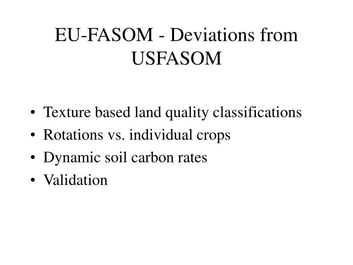 EU-FASOM - Deviations from USFASOM