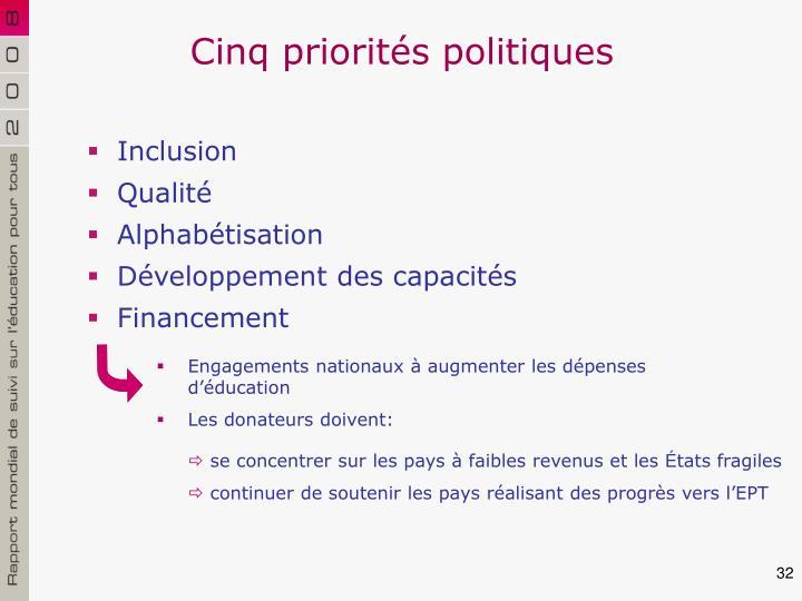 Cinq priorités politiques