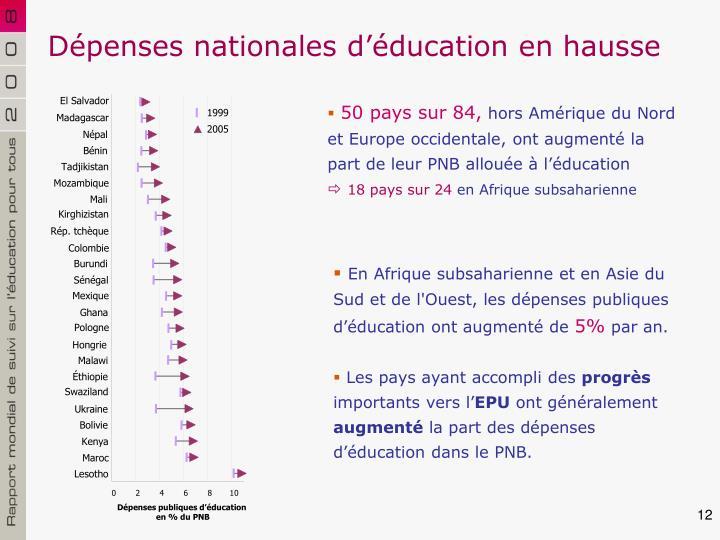 Dépenses nationales d'éducation en hausse