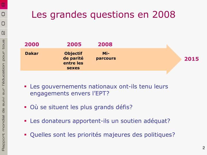 Les grandes questions en 2008