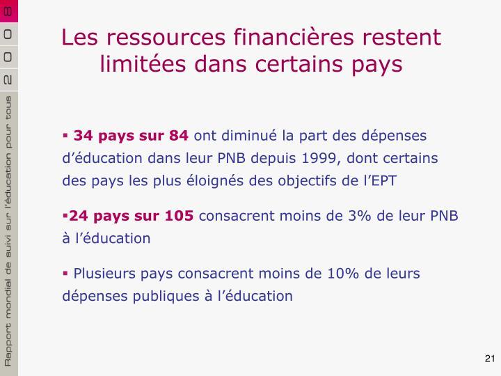 Les ressources financières restent limitées dans certains pays