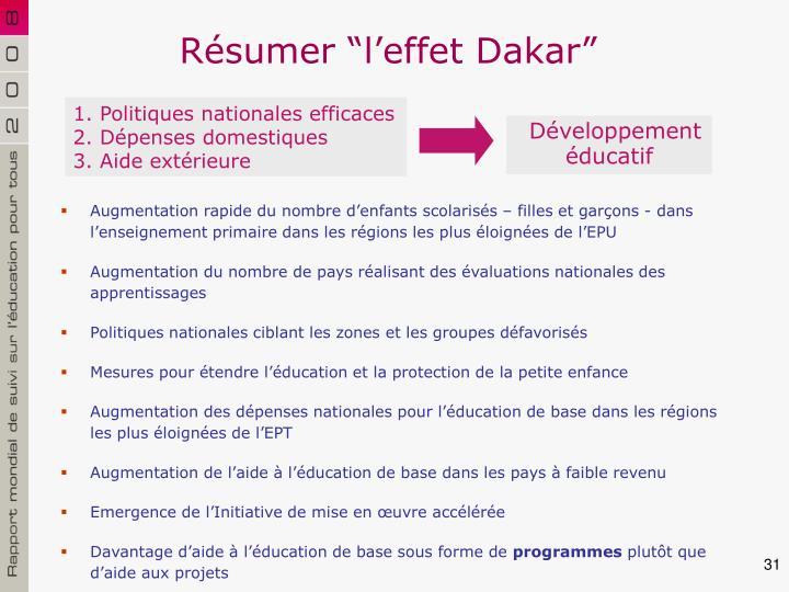 """Résumer """"l'effet Dakar"""""""